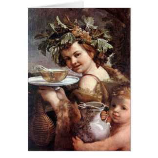 BACCHUS ,GRAPES AND WHITE WINE PARCHMENT Birthday Card