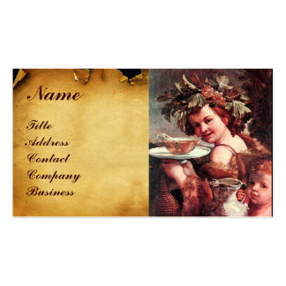 BACCHUS, GRAPES ,ROSE WINE RED WAX SEAL PARCHMENT Double-Sided STANDARD BUSINESS CARDS (Pack OF 100)