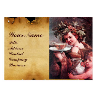 BACCHUS, GRAPES ,ROSE WINE RED WAX SEAL PARCHMENT LARGE BUSINESS CARDS (Pack OF 100)