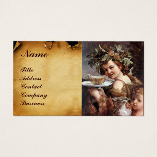 BACCHUS, GRAPES ,WHITE WINE RED WAX SEAL PARCHMENT BUSINESS CARD
