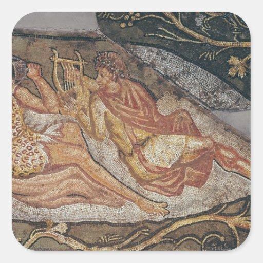 Bacchus que descansa, detalle pegatina cuadrada