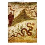 Bacchus y serpiente Agathodaimon en Pompeya Tarjetas
