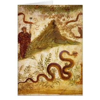 Bacchus y serpiente Agathodaimon en Pompeya Tarjeta De Felicitación