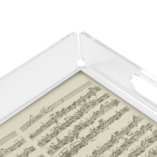 Bach 2nd Cello Suite, Several Manuscript Pages Square Serving Trays
