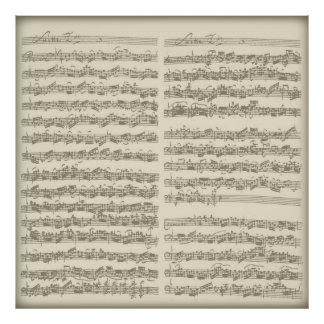 Bach 2nd Cello Suite, Several Manuscript Pages Poster