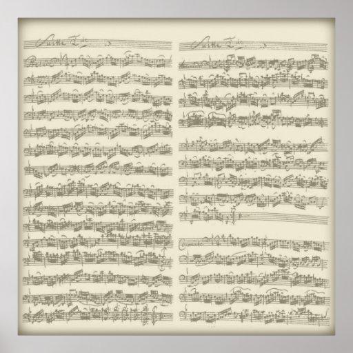 Bach 2nd Cello Suite, Several Manuscript Pages Print