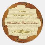Bach Cello Suite Manuscript Customizable Bookplate Classic Round Sticker