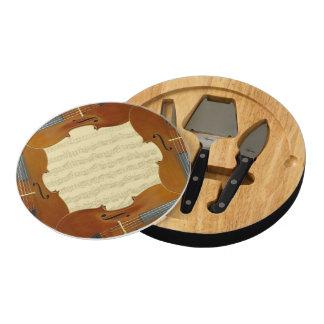 Bach Cello Suite Manuscript in Cello Frame Cheese Board