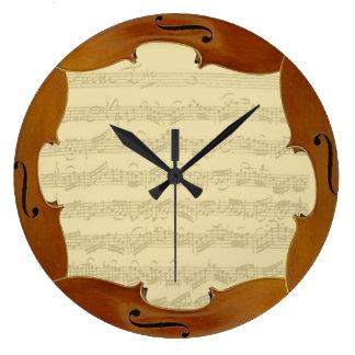 Bach Cello Suite Manuscript in Cello Frame Large Clock