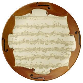 Bach Cello Suite Manuscript in Cello Frame Plate