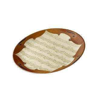 Bach Cello Suite Manuscript in Cello Frame Porcelain Plate