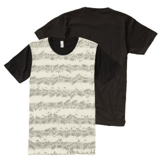 Bach Cello Suite Music Manuscript All-Over Print Shirt
