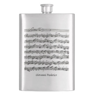 Bach Cello Suite Music Manuscript Customizable Flask