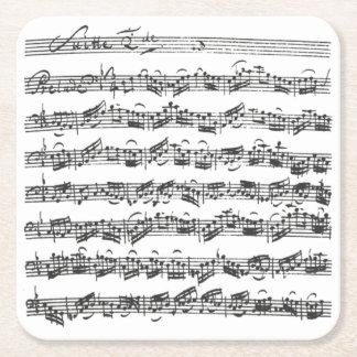 Bach Cello Suite Music Manuscript Square Paper Coaster