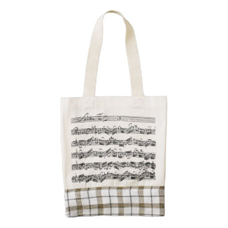 Bach Cello Suite Score with Plaid Border Zazzle HEART Tote Bag
