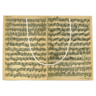 Bach Chaconne Manuscript for Solo Violin Large Gift Bag