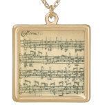 Bach Chaconne Manuscript for Solo Violin Necklaces