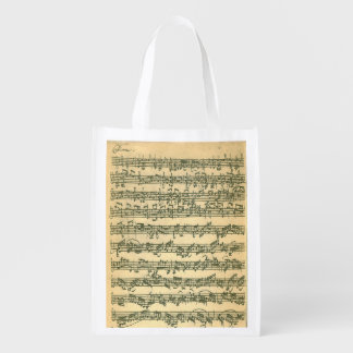 Bach Chaconne Manuscript for Solo Violin Reusable Grocery Bags
