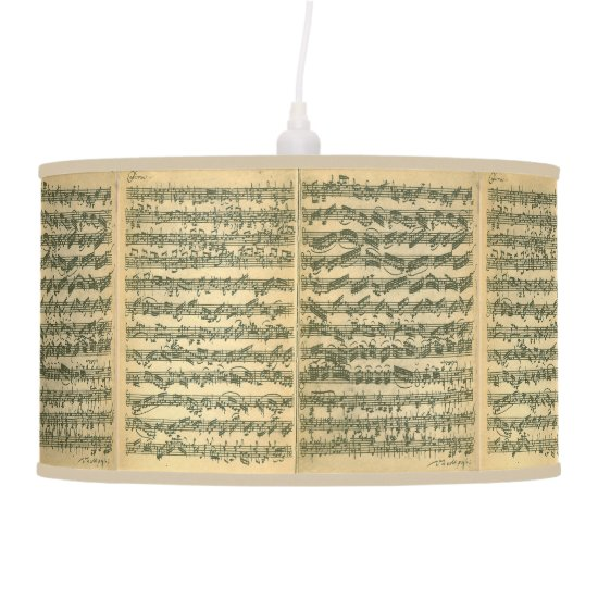 Bach Chaconne Music Manuscript for Solo Violin Ceiling Lamp