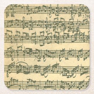 Bach Chaconne Music Manuscript for Solo Violin Square Paper Coaster