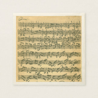 Bach Chaconne Violin Music Manuscript Paper Napkin