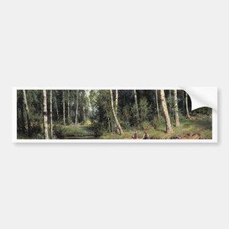 Bach In The Birch Forest By Schischkin Iwan Iwanow Bumper Stickers