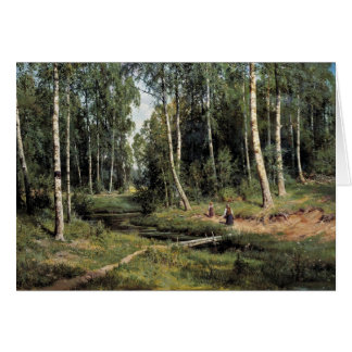 Bach In The Birch Forest By Schischkin Iwan Iwanow Cards