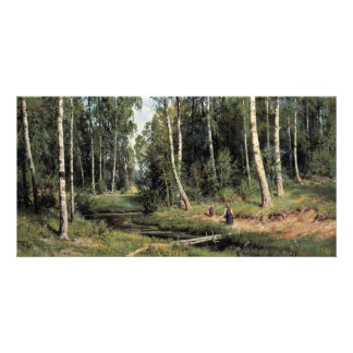 Bach In The Birch Forest By Schischkin Iwan Iwanow Picture Card