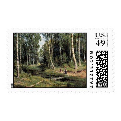 Bach In The Birch Forest By Schischkin Iwan Iwanow Stamp