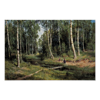 Bach In The Birch Forest By Schischkin Iwan Iwanow Poster