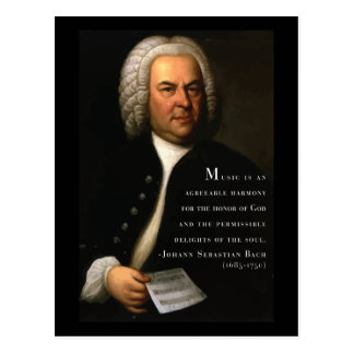 Bach 'Music is..' inspirational quote postcard
