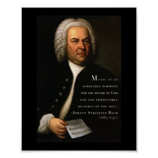Bach 'Music is..' inspirational quote poster