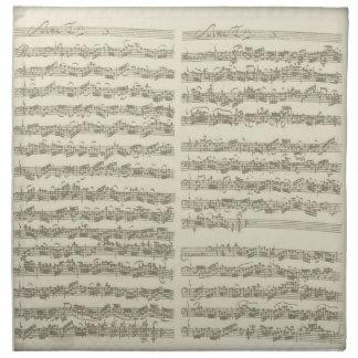 Bach Music Manuscript, 2nd Suite for Cello Solo Cloth Napkin
