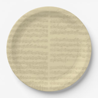 Bach Music Manuscript, 2nd Suite for Cello Solo 9 Inch Paper Plate