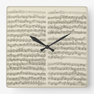Bach Music Manuscript, 2nd Suite for Cello Solo Square Wall Clock