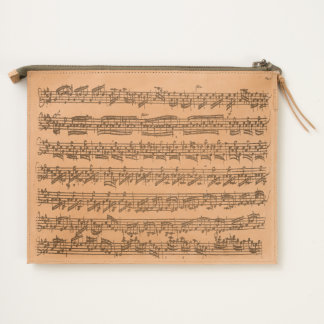 Bach Partita Fragment Original Music Manuscript Travel Pouch
