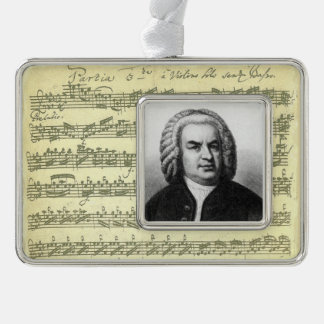 Bach Partita Music Manuscript with Portrait Silver Plated Framed Ornament