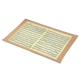 Bach Partita No. 3 for Solo Violin in Manuscript Cloth Place Mat