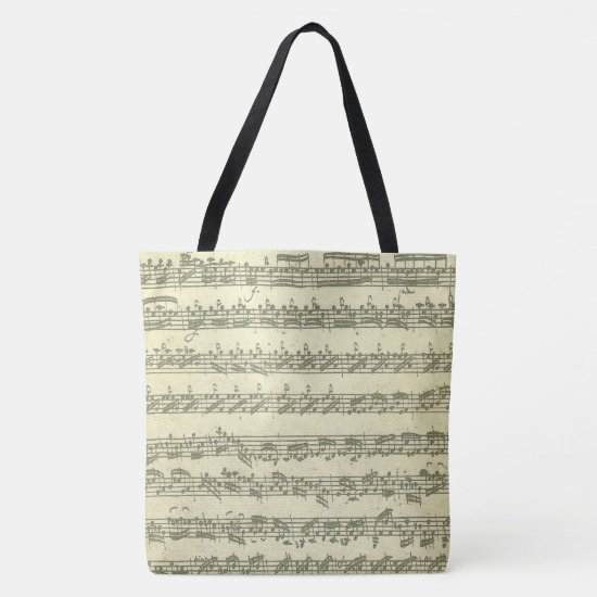 Bach Partita Original Music Manuscript Excerpts Tote Bag
