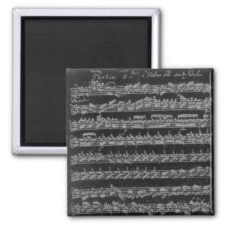 Bach Partita White on Black 2 Inch Square Magnet