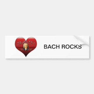 BACH ROCKS I LOVE BACH HEART BUMPER STICKER