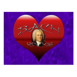 BACH ROCKS I LOVE BACH HEART POSTCARD