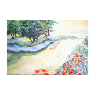 Bach Trees And Poppies From Watercolour Art Canvas Print
