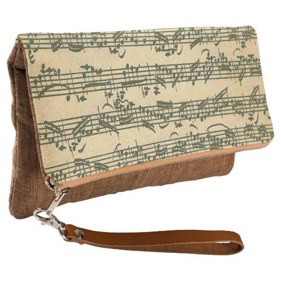 Bach Vintage Music Manuscript Excerpt Clutch