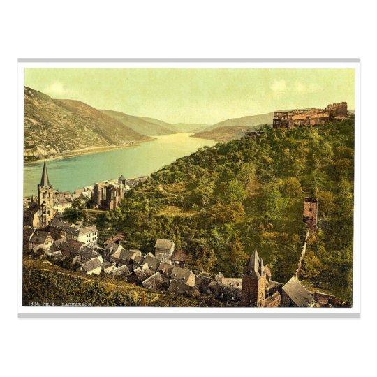 Bacharach and ruins of Stahleck, the Rhine, German Postcard