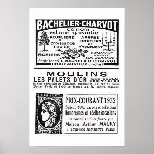 """""""Bachelier Charvot"""", Moulins """"Prix Courant 1932 """" Posters"""