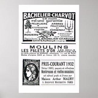 """""""Bachelier Charvot"""", Moulins """"Prix Courant 1932 """" Póster"""