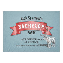 Bachelor / Bachelorette Stag Party Red Ribbon Blue Card