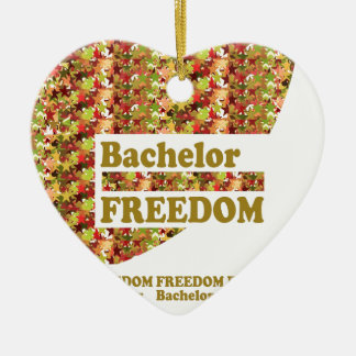 BACHELOR FREEDOM : Ideal Gift for ENGAGEMENT Double-Sided Heart Ceramic Christmas Ornament