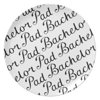 Bachelor Pad Diagonal Script Pattern B&WII Dinner Plate